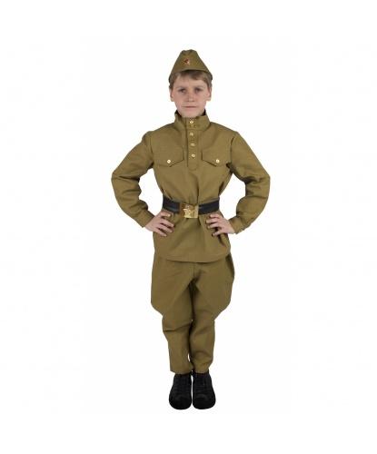 Костюм военного времен Второй мировой войны: гимнастерка, брюки галифе, пояс, пилотка (Россия)