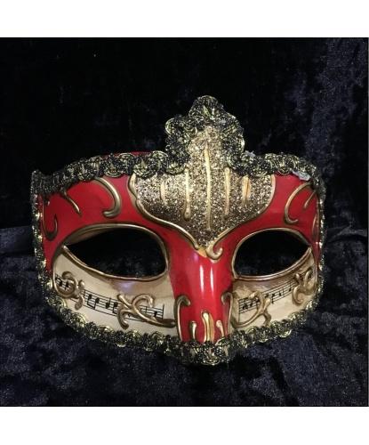 Карнавальная маска Musica (красная), тесьма, пластик (Италия)