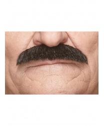 Усы шеврон чёрные с проседью