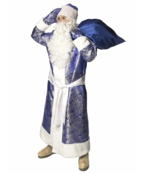 Карнавальный костюм Дед Мороз жаккардовый (синий)