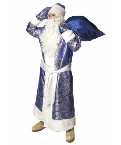 Карнавальный костюм Дед Мороз жаккардовый (синий): шуба, рукавицы, кушак, мешок, шапка, парик, борода (Россия)