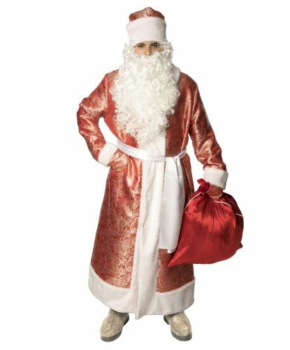 Карнавальный костюм Дед Мороз жаккардовый (красный): шуба, рукавицы, кушак, мешок, шапка (Россия)