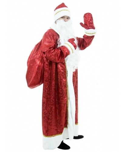 Костюм Деда Мороза Узорный: шуба на подкладке, шапка с меховым отворотом, варежки, мешок, парик и борода (Россия)