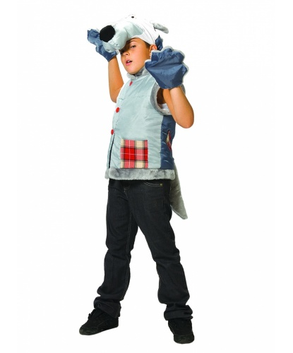 Детский костюм зубастого волка: жилетка, шапочка, перчатки (Россия)