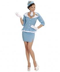 Ретро-униформа стюардессы: пиджак, юбка, головной убор, галстук (Италия)
