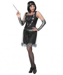 """Черное платье """"Флэппер"""" с серебряными перчатками"""