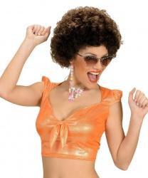 Парик в стиле диско, коричневый