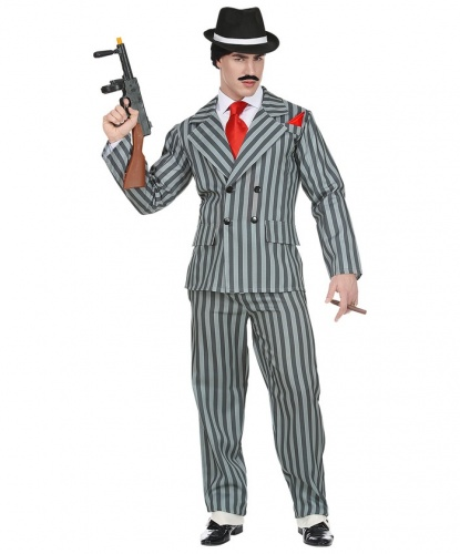 Костюм гангстера серый в полоску: пиджак, брюки (Италия)