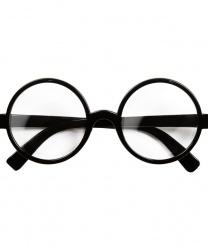 Круглые очки в черной оправе