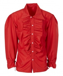 Красная рубашка с рюшами