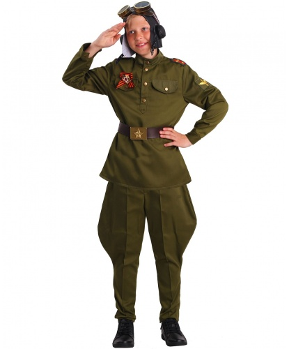 Детский костюм военного летчика: гимнастерка, брюки, ремень, шлем, очки (Россия)