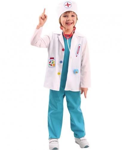 Детский костюм Доктор: рубашка без рукавов, брюки, пиджак, шапка, стетоскоп (Россия)
