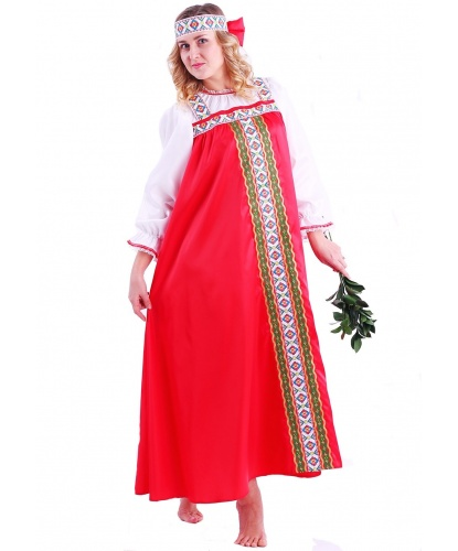 Взрослый костюм Марья Искусница: сарафан с рукавами, повязка на голову (Россия)