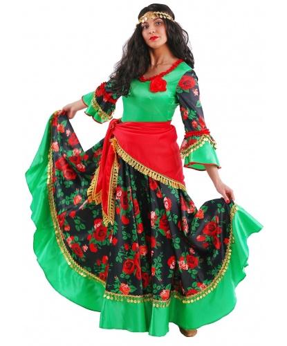 Взрослый костюм Цыганка Роза: платье, платок, парик, монисто на голову (Россия)