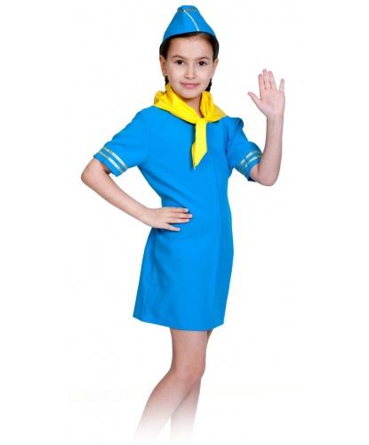 Детский костюм Стюардесса: платье, головной убор, платок на шею (Россия)