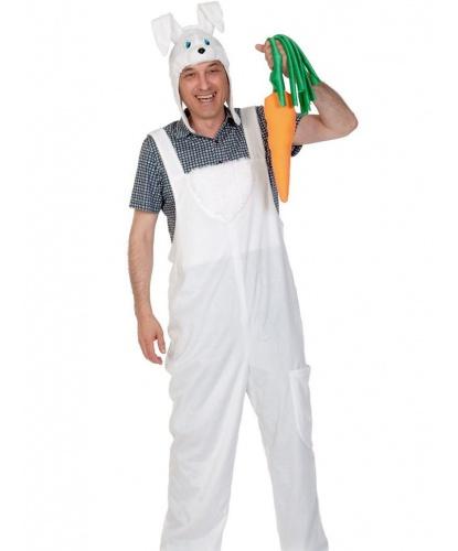 Взрослый костюм белого зайца: полукомбинезон, шапка-маска, морковка (Россия)
