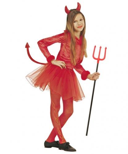 Детский костюм красной дьяволицы: боди, юбка, рожки (Италия)