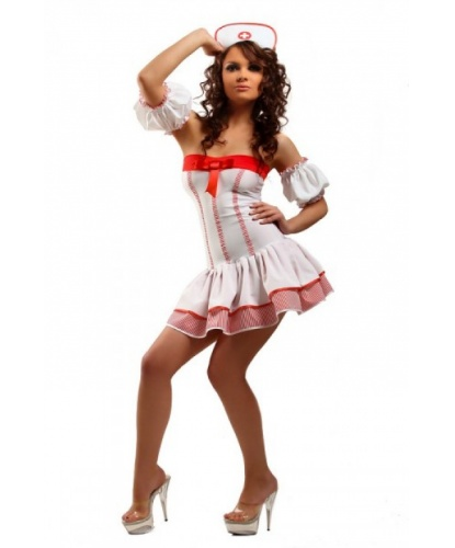 Откровенный костюм медсестры: платье, нарукавники, головной убор (Китай)