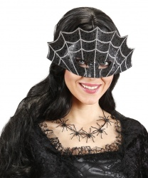 Черная маска на Хэллоуин Паутина, полиэстер (Италия)