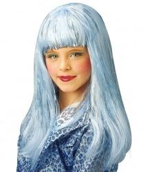 Голубой блестящий парик для девочки