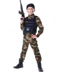 Детский костюм для мальчика Спецназ: рубашка, брюки, бронежилет, бандана, граната, автомат (Россия)