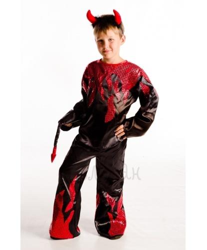 Детский костюм чертика: : рубаха, брюки с хвостом, рожки (Украина)