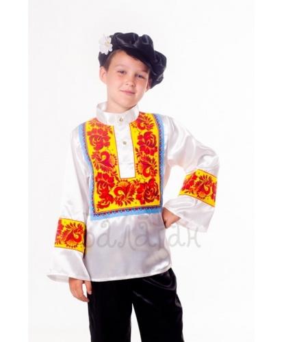 Русский-народный костюм для мальчика Хохлома: рубаха, картуз (Украина)