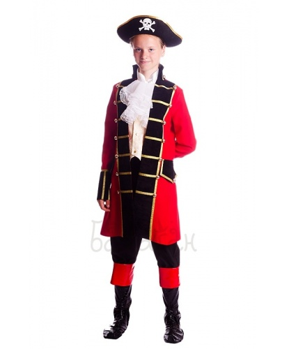 Костюм предводителя пиратов: камзол, брюки с имитацией обуви, жабо, шляпа (Украина)