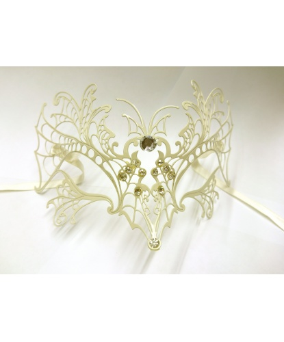 Белая венецианская маска Farfalla , металл (Италия)