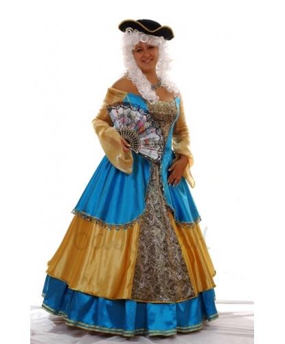 Костюм Екатерины II: платье на основе корсета со шнуровкой, подъюбник, треуголка (Украина)