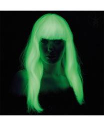 Белый парик с челкой, светится в темноте