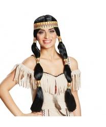 Парик индейский с двумя длинными хвостами