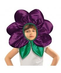 """Шапка """"Цветочек"""" темно-фиолетовая"""