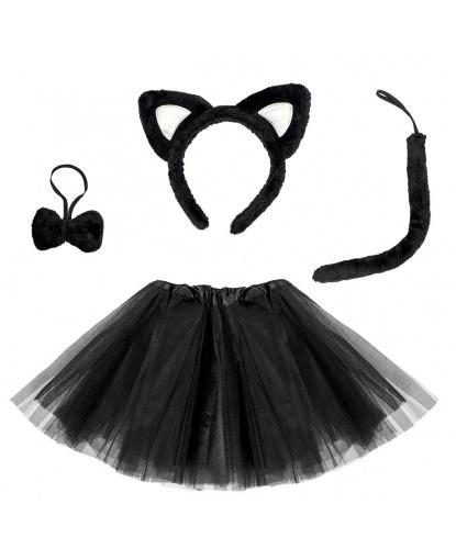 Набор черной кошечки: юбка, хвост, ободок с ушками, бантик (Польша)